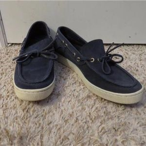 PEDRO GARCIA NAVY SUEDE FRONT LACE LOAFERS 39/9
